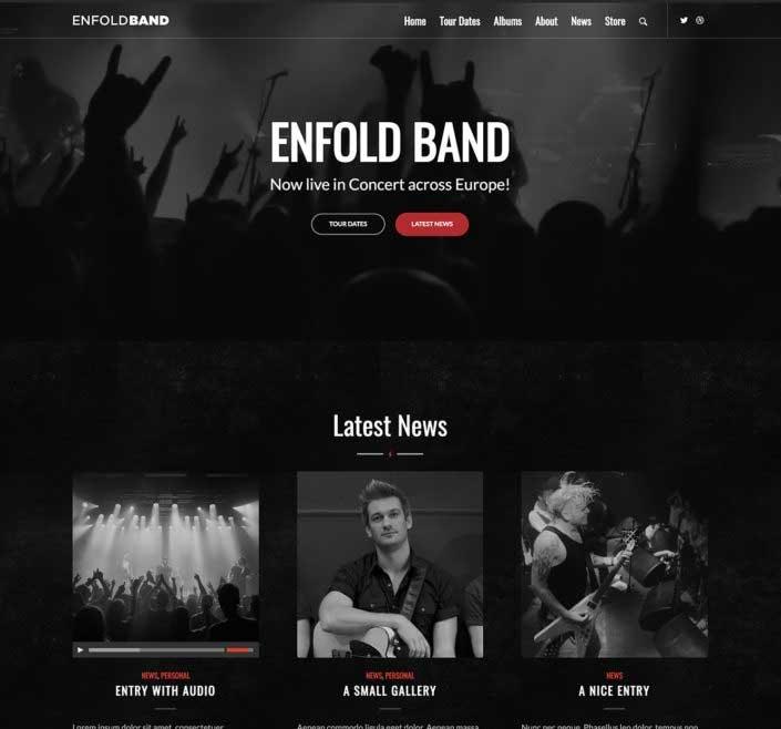 WordPress thema Enfold voorbeeld voor band
