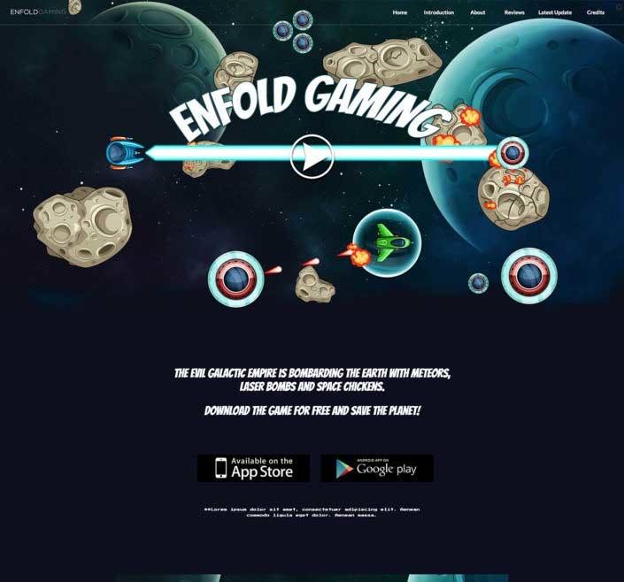 WordPress thema Enfold voorbeeld voor maker games