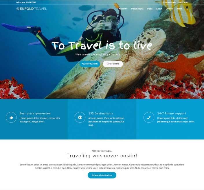 WordPress thema Enfold voorbeeld reisbureau