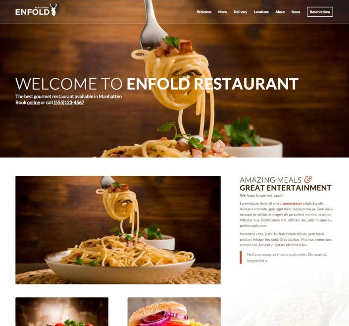 WordPress thema Enfold voorbeeld restaurant