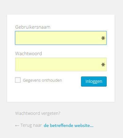 inloogen wordpress, gebruikersnaam, wachtwoord