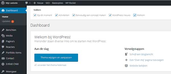 Scherminstellingen van WordPress