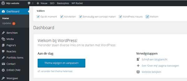 Scherminstellingen van WordPress